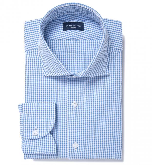Portuguese Blue Gingham Seersucker Fitted Dress Shirt