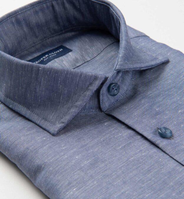 Portuguese Faded Navy Cotton Linen Oxford