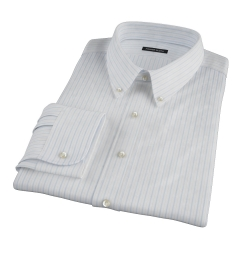 Albini Light Blue Satin Stripe Custom Made Shirt