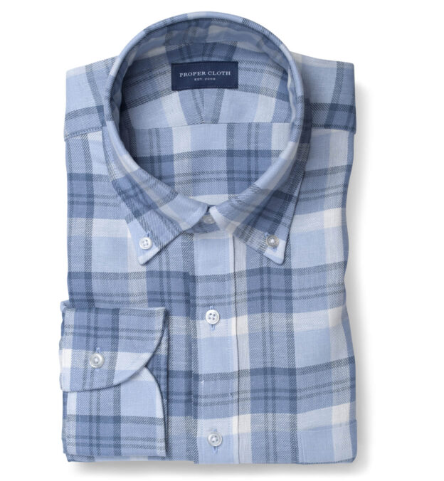 Mesa Faded Blue Cotton and Linen Plaid