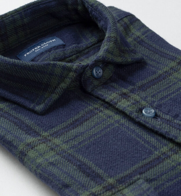 Japanese Washed Green and Navy Country Plaid