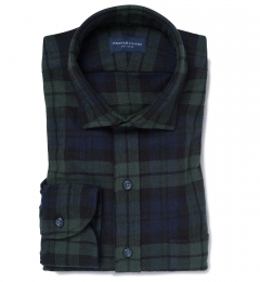 Japanese Washed Blackwatch Country Plaid Men's Dress Shirt