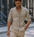 Beige and Sage Large Plaid Indian Madras Shirt Thumbnail 3