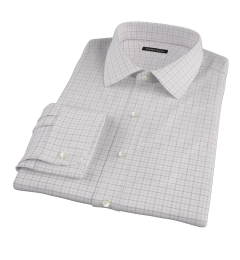 Canclini Brown Tan Grid Oxford Fitted Dress Shirt