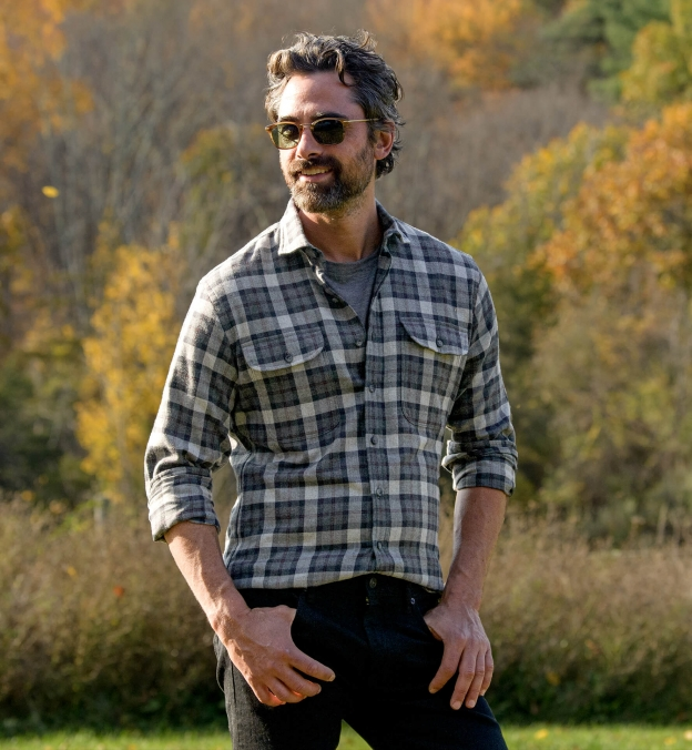Canclini Charcoal and Red Plaid Beacon Flannel