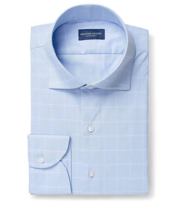 Performance Stretch Light Blue Prince of Wales Check