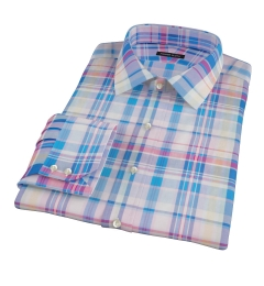 Pink Blue Red Madras Custom Made Shirt