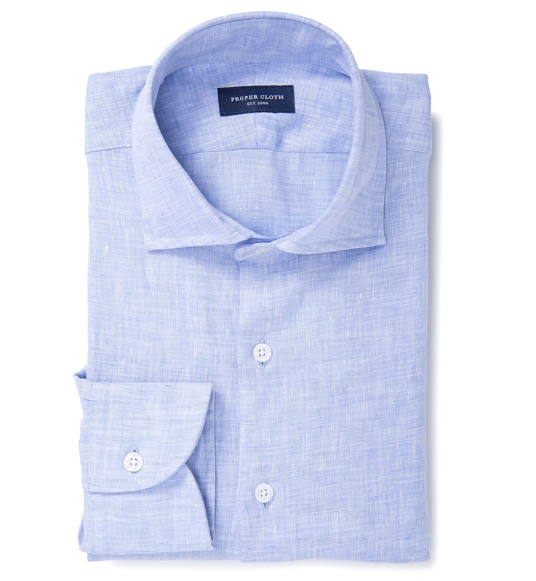 Grandi And Rubinelli Washed Light Blue Linen Dress Shirt