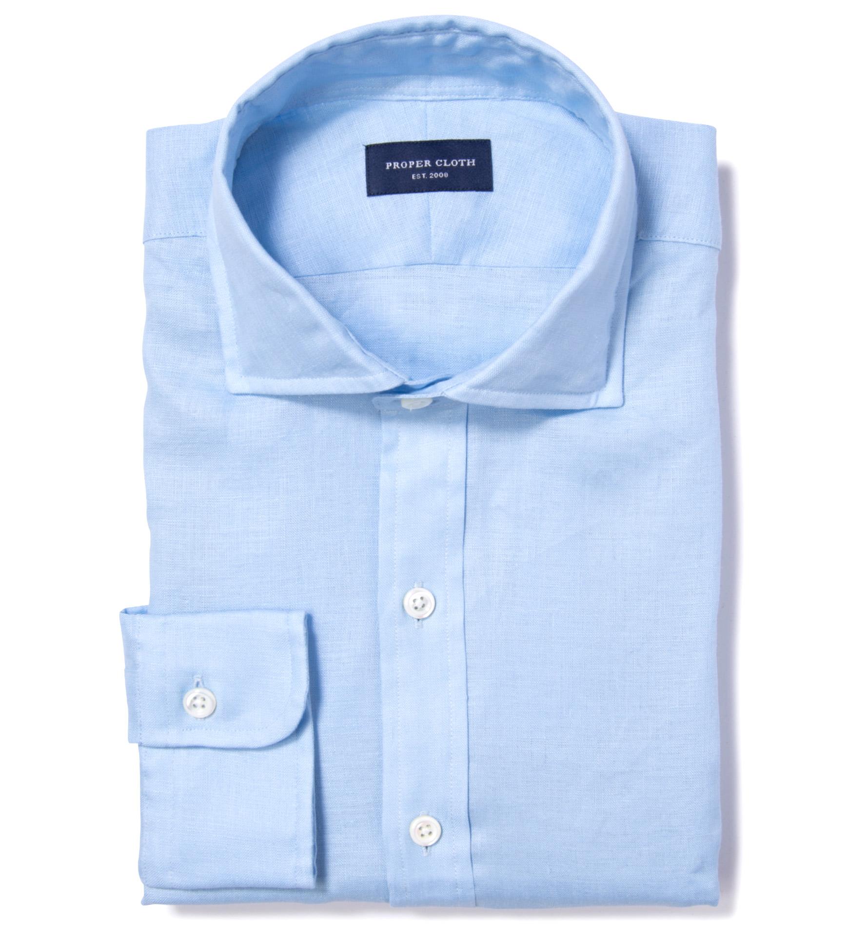 894ac0c78ff Canclini Light Blue Linen Fitted Dress Shirt by Proper Cloth
