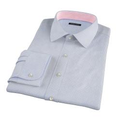 Thomas Mason Blue Small Grid Fitted Shirt