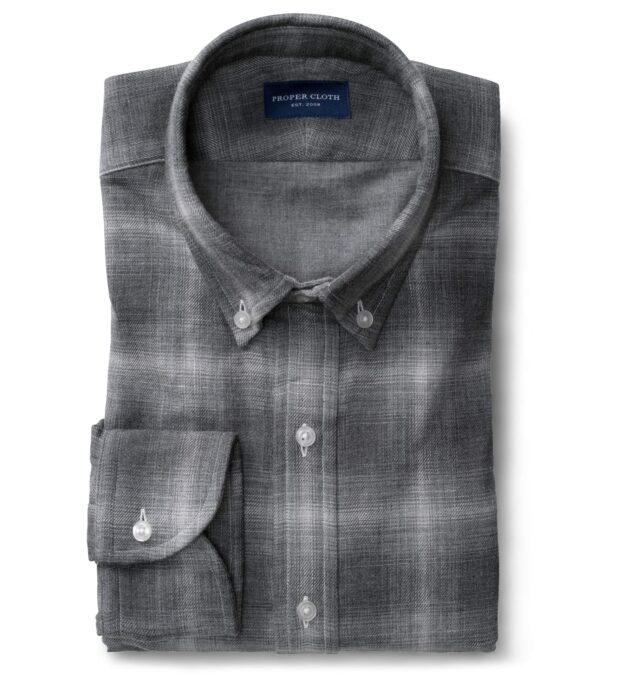 Grey Tonal Melange Ombre Plaid Double Cloth