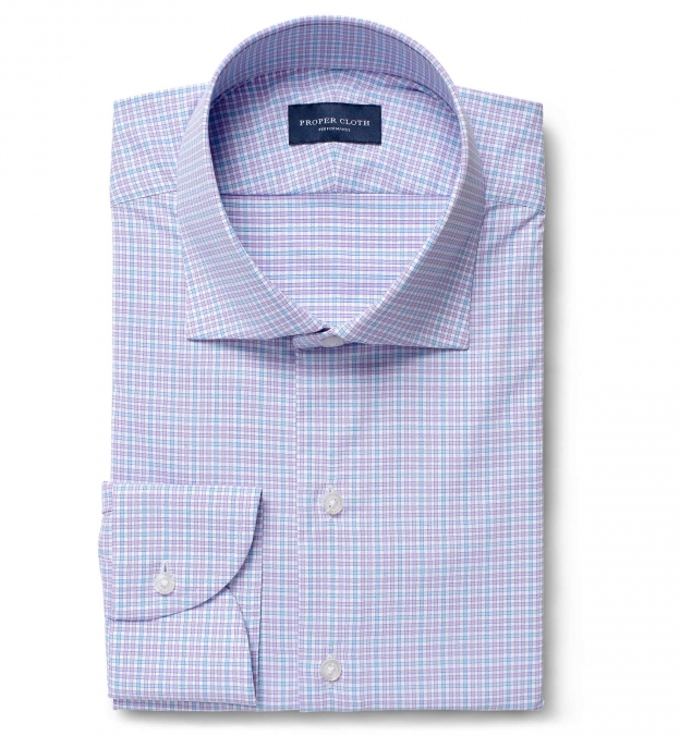 Performance Lavender and Light Blue Multi Check