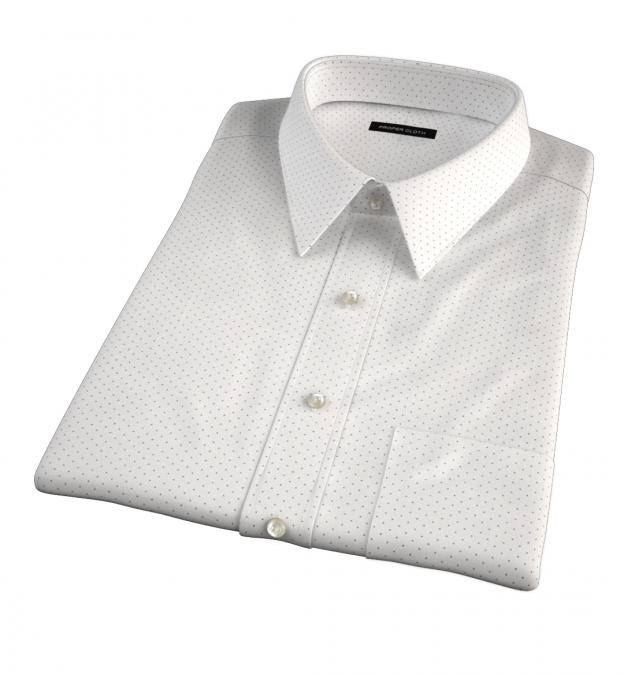 Navy on White Pindot Print Short Sleeve Shirt