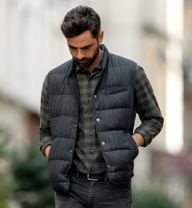 Stowe Fatigue and Charcoal Melange Gingham Flannel