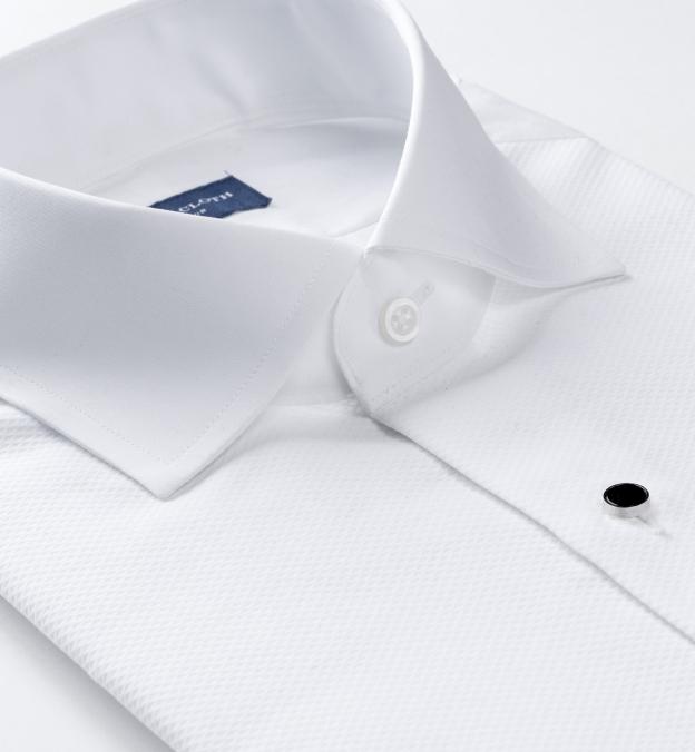 White Stretch Broadcloth with Tuxedo Pique Bib