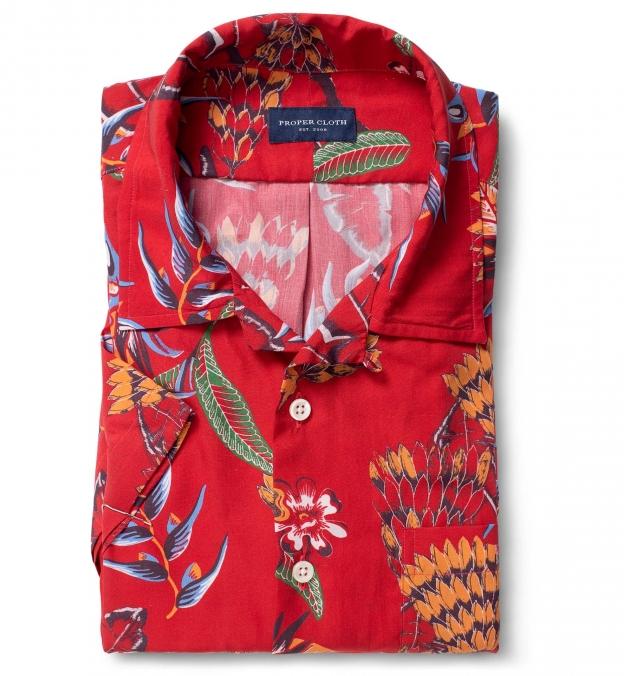 Albini Red Aloha Print Tencel