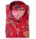 Albini Red Aloha Print Tencel Shirt Thumbnail 1