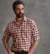 Thomas Mason Cranberry and Off White Plaid Flannel Shirt Thumbnail 5