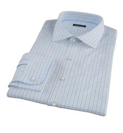 Light Blue Windowpane Glen Plaid Fitted Shirt