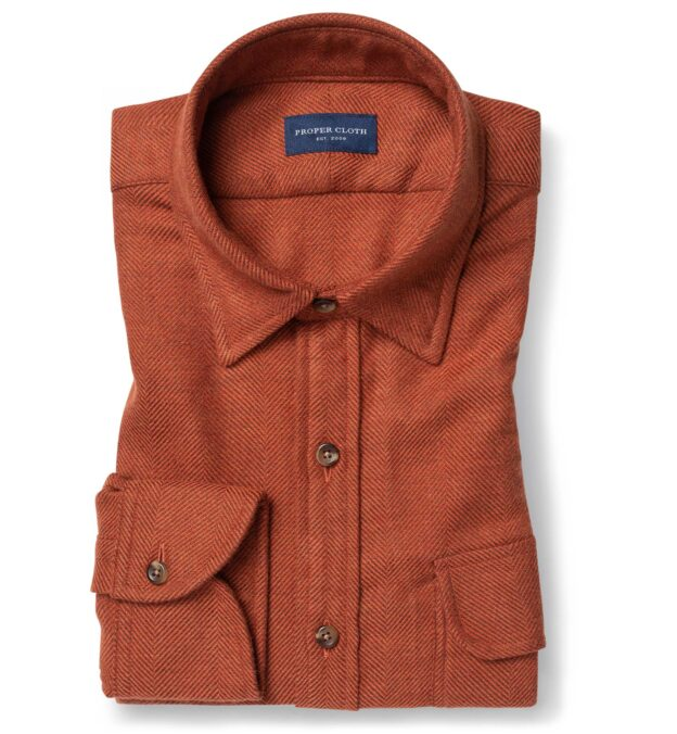 Canclini Rust Large Herringbone Beacon Flannel