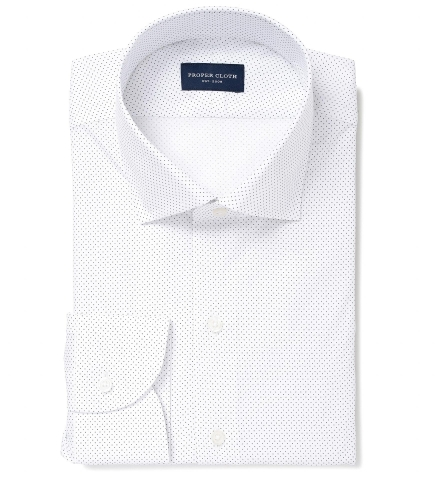 953c6493 White and Navy Pindot Print Dress Shirt by Proper Cloth