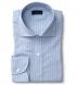 Thomas Mason Washed Light Blue Stripe Cotton Linen Oxford Shirt Thumbnail 1