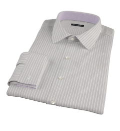 Japanese Lavender and Grey Stripe Custom Dress Shirt
