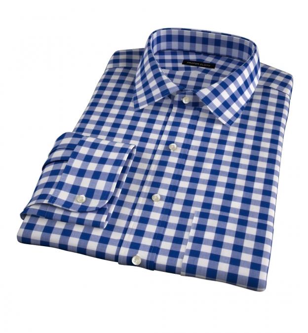 100s Royal Blue Large Gingham Custom Made Shirt
