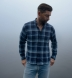 Japanese Washed Blue and White Country Plaid Shirt Thumbnail 2