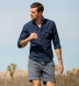 Portuguese Navy Cotton Linen Oxford Shirt Thumbnail 3