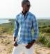 Portuguese Light Blue Large Melange Plaid Shirt Thumbnail 3
