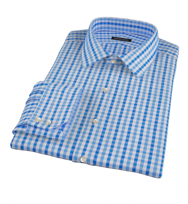 Thomas Mason Blue Multi Gingham Custom Dress Shirt