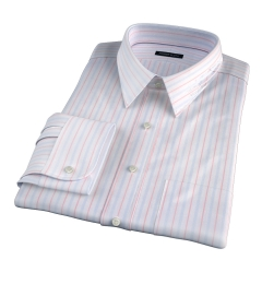 Varese 140s Light Blue and Coral Multi Stripe Custom Made Shirt