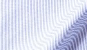 Fabric swatch of Thomas Mason Blue End-on-End Stripe Fabric
