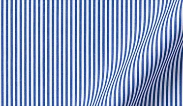 140s Navy Wrinkle-Resistant Pencil Stripe Fabric Sample