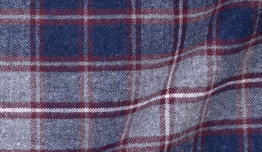 Custom shirt made with Whistler Navy Grey and Crimson Plaid Flannel Fabric