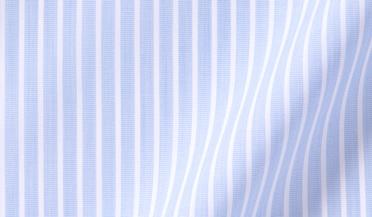 Fabric swatch of DJA Sea Island Blue End-on-End Stripe Fabric
