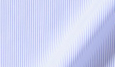Fabric swatch of Thomas Mason Goldline Blue Pencil Stripe Fabric