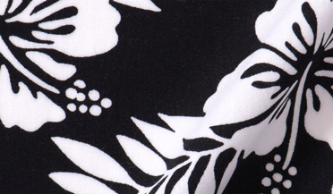 Fabric swatch of Japanese Black and White Aloha Floral Fabric