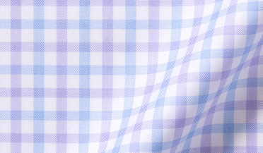 Fabric swatch of Mayfair Wrinkle-Resistant Lilac and Blue Check Fabric