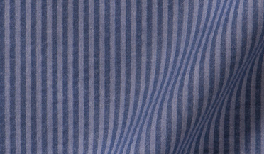 Custom shirt made with Portuguese Slate Blue Seersucker Fabric
