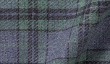 Custom shirt made with Satoyama Sage and Slate Plaid Flannel Fabric