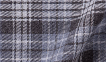 Fabric swatch of Satoyama Light Grey and Slate Plaid Flannel Fabric