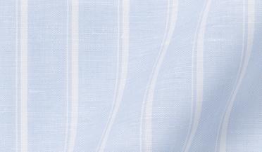 Fabric swatch of Portuguese Light Blue Vintage Stripe Cotton Linen Blend Fabric
