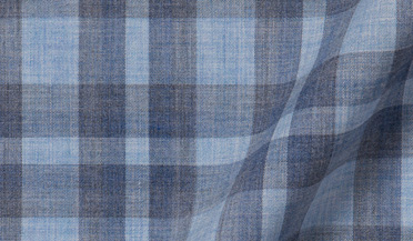 Custom shirt made with Bleecker Light Blue and Grey Melange Large Plaid Fabric