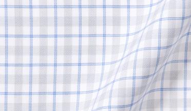 Fabric swatch of Novara Grey and Light Blue Multi Check Fabric