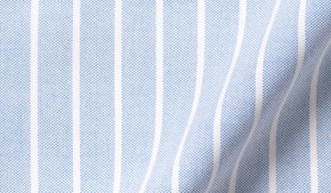 Custom shirt made with Light Blue Wide Stripe Heavy Oxford Fabric