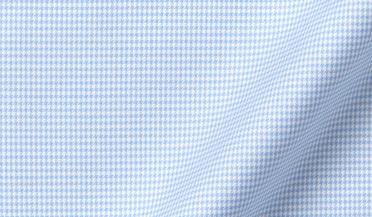 Fabric swatch of Non-Iron Supima Light Blue Houndstooth Fabric