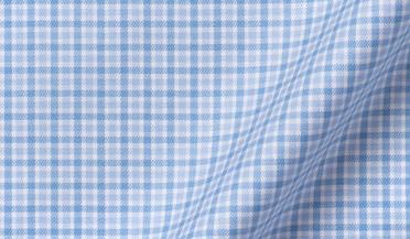 Fabric swatch of Non-Iron Supima Light Blue Multi Gingham Fabric