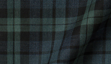 Fabric swatch of Portuguese Green and Slate Plaid Fabric